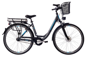 Zündapp City E-Bike Green 3.5 Damen 28 Zoll, Elektrofahrrad Alu in Anthrazit mit 7-Gang Shimano Nexus Nabenschaltung - Pedelec Citybike leicht mit Fahrradkorb, 250W & 13Ah / 36V Lithium-Ionen-Akku