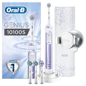 Oral-B Elektrische Zahnbürste Genius 10100S mit Zahnfleischschutz-Assistent, Farbe Violett/Lila