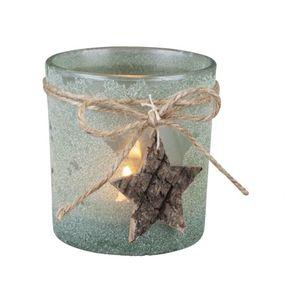 Teelichthalter mit Kordel und Holzstern - grün gefrostet - Maße: ca. 7,3 x 8 cm