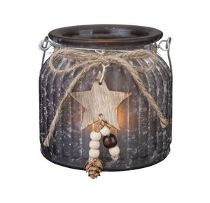 Teelichthalter mit Stern - Maße: ca. 11 x 10,5 cm