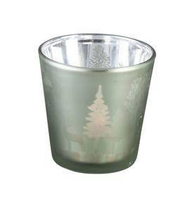 Teelichthalter aus Glas - Rentiere und Bäume - Maße: ca. 7,5 x 7,5 cm