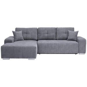 Carryhome WOHNLANDSCHAFT Webstoff Bettkasten, Rücken echt, Rückenkissen, Schlaffunktion, Zierkissen, Grau