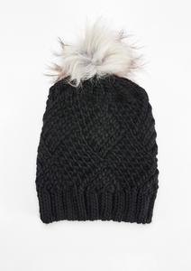 Grobstrickmütze mit Fake Fur
