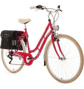 KS Cycling Cityrad »Verona«, 6 Gang Shimano Tourney Schaltwerk, Kettenschaltung, (Set, mit Doppeltasche), inkl. Doppelpacktasche