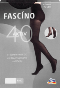 FASCÍNO Strumpfhose 3D Sohle schwarz 40den, Gr. 46/48