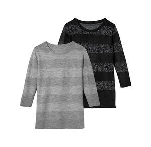 Laura Torelli Classic Damen-Pullover mit modernem Streifenmuster