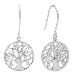 """manguun             Ohrhaken """"Lebensbaum"""", 925 Sterling Silber, 16 Zirkonia weiß rund à ø 1,25mm / Krappenfassung"""
