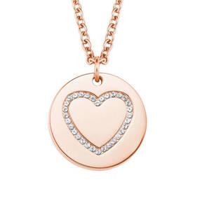 s.Oliver             Damen-Halskette mit Herz-Anhänger IP ROSE, Edelstahl 2020957