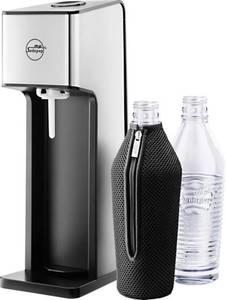 my Sodapop Wassersprudler Wassersprudler Sharon Silber, Schwarz inkl. 2 Glasflaschen, und 1 CO2-Zylinder