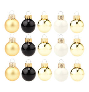 GALERIA SELECTION             Weihnachtskugel-Set, 24-tlg., gold/schwarz, 2,5 cm