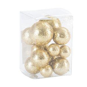 Dekokugeln in Box beglimmert, gold