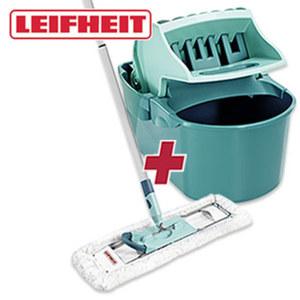 """Boden-Wisch-Set """"Profi compact"""" - - Wischtuchpresse mit 8 Liter Inhalt und Pressaufsatz - Bodenwischer mit 3-teiligem Stiel und 42 cm Wischbreite"""