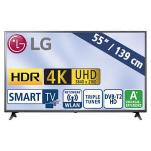 "55""-Ultra-HD-LED-TV 55UK6200PLA • Magic-Remote-Ready • TV-Aufnahme über USB • HbbTV, H.265 • 4K Active HDR (HDR10 Pro, HLG) • 3 HDMI-/2-USB-Anschlüsse, CI+ • Stand-by: 0,5 Watt, Betri"