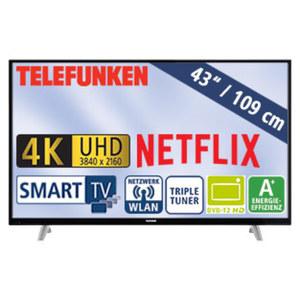 "43""-Ultra-HD-LED-TV D43U297N4CWH • HbbTV, H.265, HDR (HDR10) • 3 HDMI-/2 USB-Anschlüsse, CI+ • Stand-by: 0,5 Watt, Betrieb: 54 Watt • Maße: H 65,3 x B 97,4 x T 9,5 cm • Energie-Effizien"