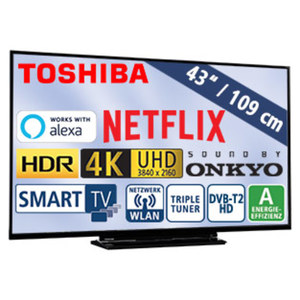 "43""-Ultra-HD-LED-TV 43V5863DA • HbbTV, H.265, HDR10 • 3 HDMI-/2 USB-Anschlüsse, CI+ • 2 x 10 Watt RMS • Stand-by: 0,5 Watt, Betrieb: 54 Watt • Maße: H 56,7 x B 97,1 x T 7,3 cm • Energ"