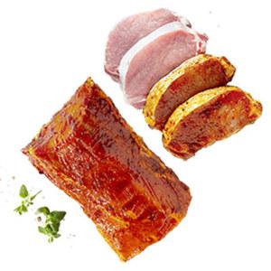 Frischer Schweinerücken mit Kette mariniert oder  Loinsteaks natur oder mariniert,    je 1 kg