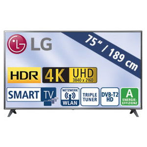 "75""-Ultra-HD-LED-TV 75UK6200PLB • Magic-Remote-Ready • TV-Aufnahme über USB • HbbTV, H.265, Quad-Core • 4K Active HDR (HDR10 Pro, HLG) • 3 HDMI-/2-USB-Anschlüsse, CI+ • Stand-by: 0,5"