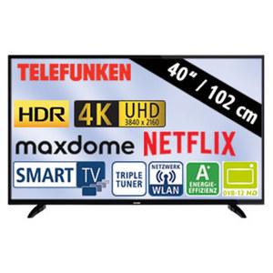 "40""-Ultra-HD-LED-TV D40U298N4CWH • HbbTV, H.265, HDR (HDR10) • 3 HDMI-/2 USB-Anschlüsse, CI+ • Stand-by: 0,5 Watt, Betrieb: 46 Watt • Maße: H 54,9 x B 92,3 x T 9,1 cm • Energie-Effizien"