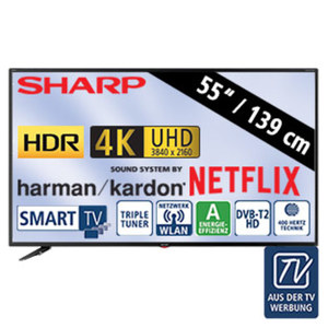 "55""-Ultra-HD-LED-TV LC-55UI7352E • HbbTV, H.265, HDR • 3 HDMI-/2 USB-Anschlüsse, USB 3.0 • CI+, SD-Kartenslot • 2 x 10 Watt RMS • Stand-by: 0,5 Watt, Betrieb: 110 Watt • Maße: H 72,5"
