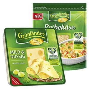 Grünländer Scheiben oder Reibekäse Deutscher Hart- und Schnittkäse, 48 % Fett i. Tr./17 % Fett absolut, versch. Sorten, jede 150/140/130/120/110-g-Packung