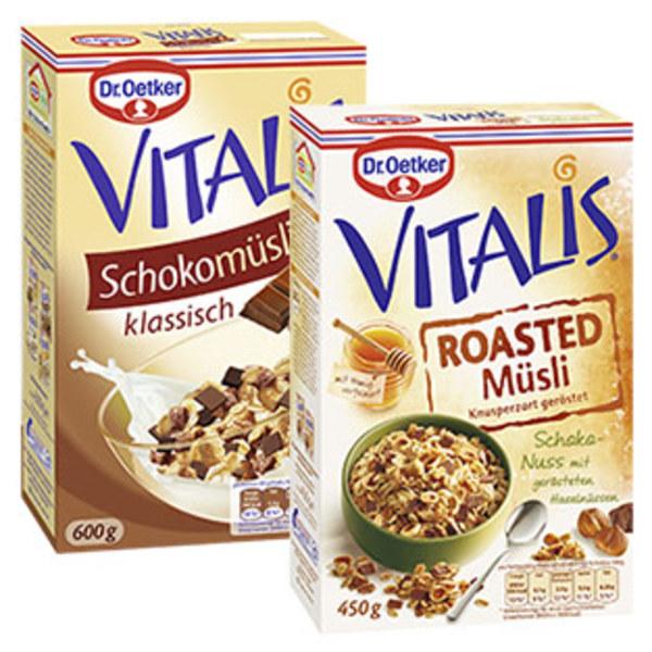 Dr. Oetker Vitalis Schokomüsli klassisch oder Roasted Müsli Schoko-Nuss jede 600/450-g-Packung und weitere Sorten
