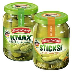 Knax Gurken oder Sticksi süß-würzig jedes 720-ml-Glas/360 g Abtropfgewicht