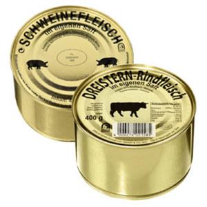 Rindfleisch oder Schweinefleisch jede 400-g-Dose