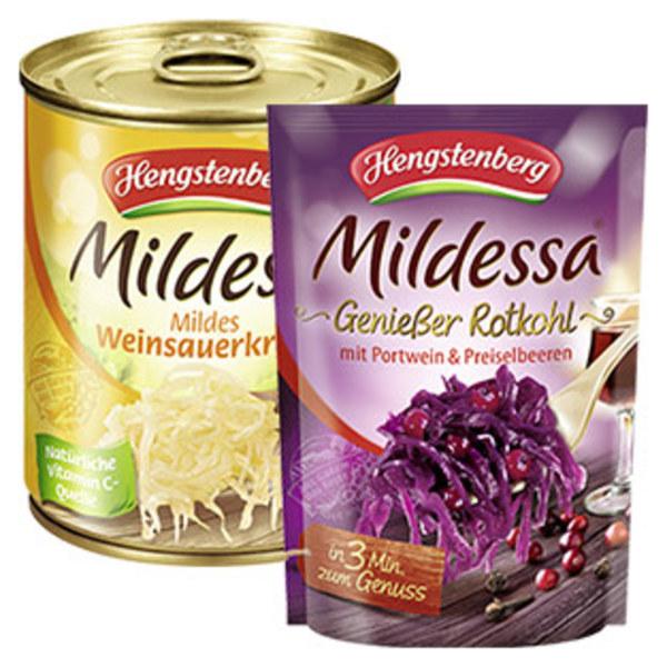 Hengstenberg Mildessa Sauerkraut oder Rotkohl mit Portwein und Preiselbeeren jeder 400-g-Beutel jede 850-ml-Dose/770 g Abtropfgewicht