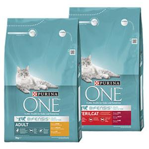 Purina One Katzen-Trockennahrung versch. Sorten jede 3-kg-Packung