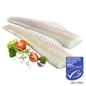 Kabeljau Loins praktisch grätenfrei aus MSC-zertifiziertem Wildfang, Nordostatlantik,  je 100 g