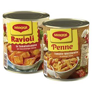 Maggi Ravioli oder Penne Tomate-Mozarella versch. Sorten,  jede 800-g-Dose