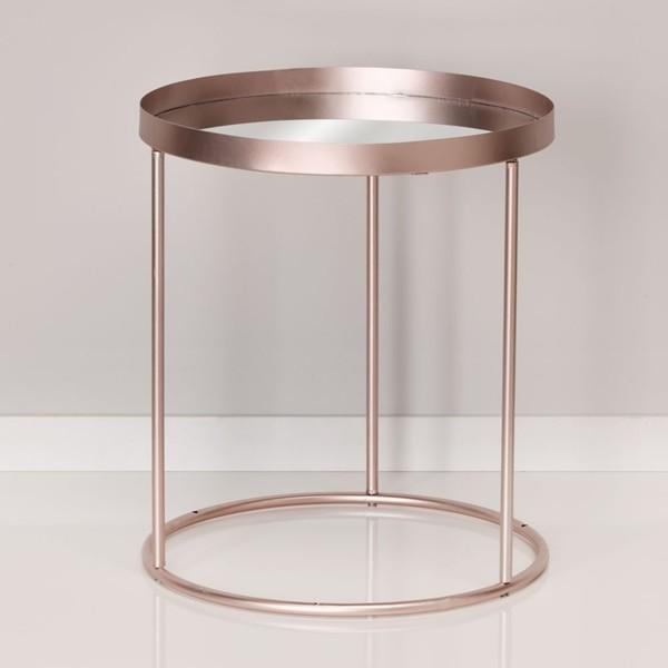 Beistelltisch Spiegelflache Metall Glas 40 X 46 Cm Rosegold Von