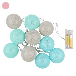 Lichterkette, LED, Raphiakugeln, 160 cm, verschiedene Farben