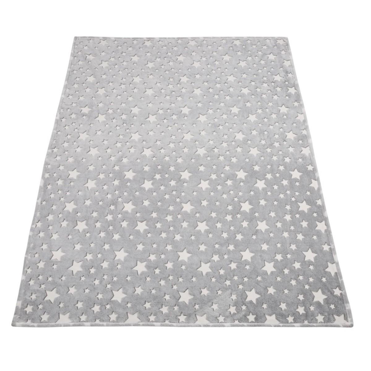 Bild 2 von Kuscheldecke, Sterne, leuchtend, 70 x 100 cm, grau