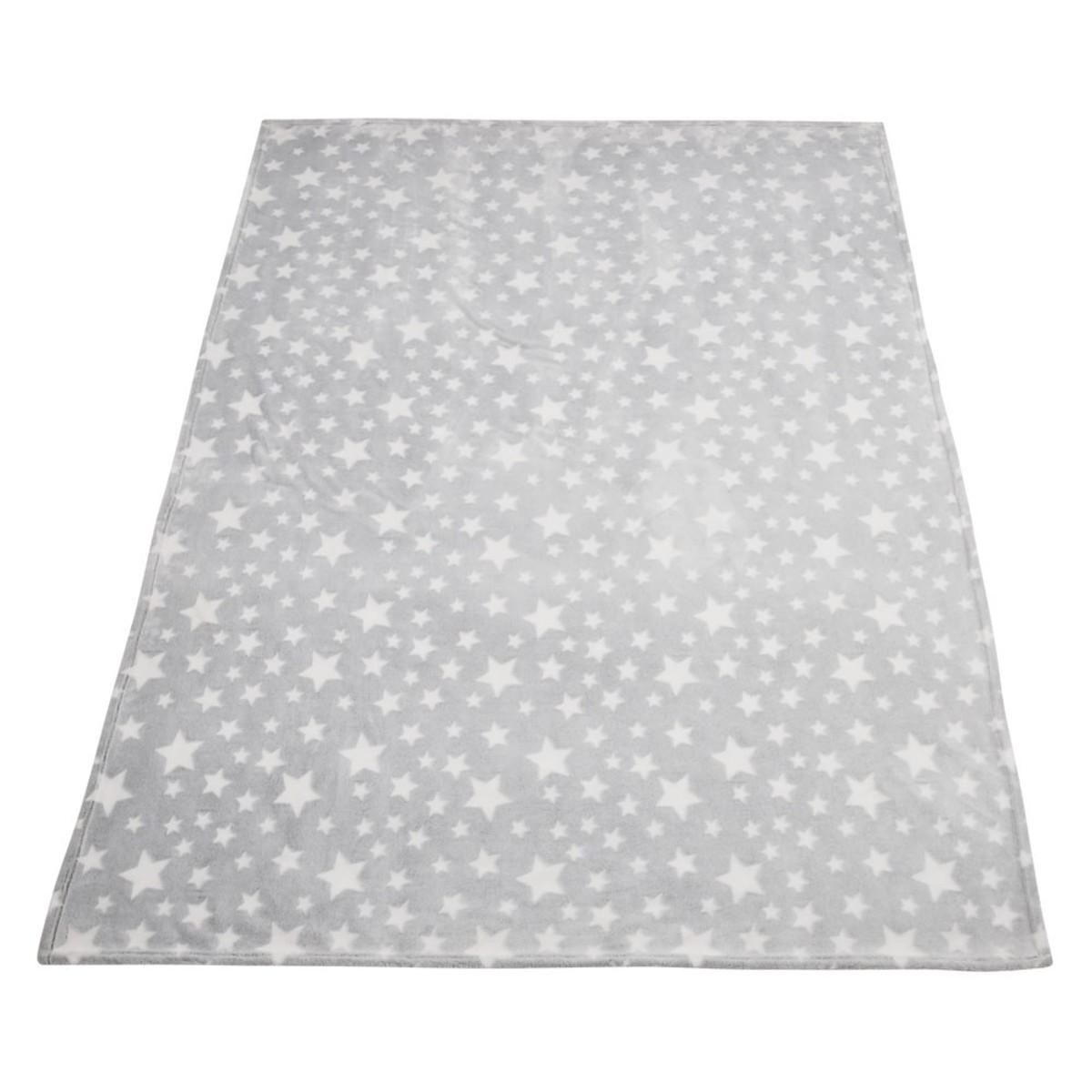 Bild 3 von Kuscheldecke, Sterne, leuchtend, 70 x 100 cm, grau