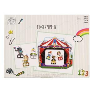 Fingerpuppen-Set, mit Puppenschrank, Pappe, 7-teilig