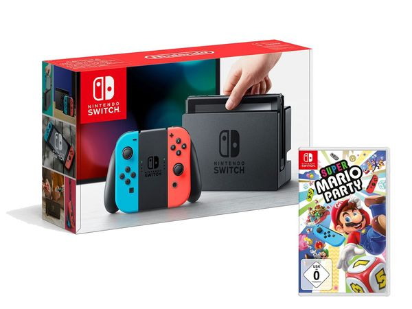 Nintendo Switch Konsole Neon-Blau/Neon-Rot + Super Mario Party
