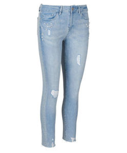 Jeans - Slim Fit, Normal Rise, Perlen