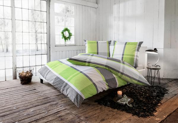 Dreamtex Feinbiber Bettwäsche 135x200 Cm Silber Grün Von Norma