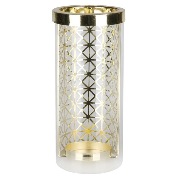 Windlicht, Dreiecksmuster, Glas, 9 x 21 x 9 cm, gold