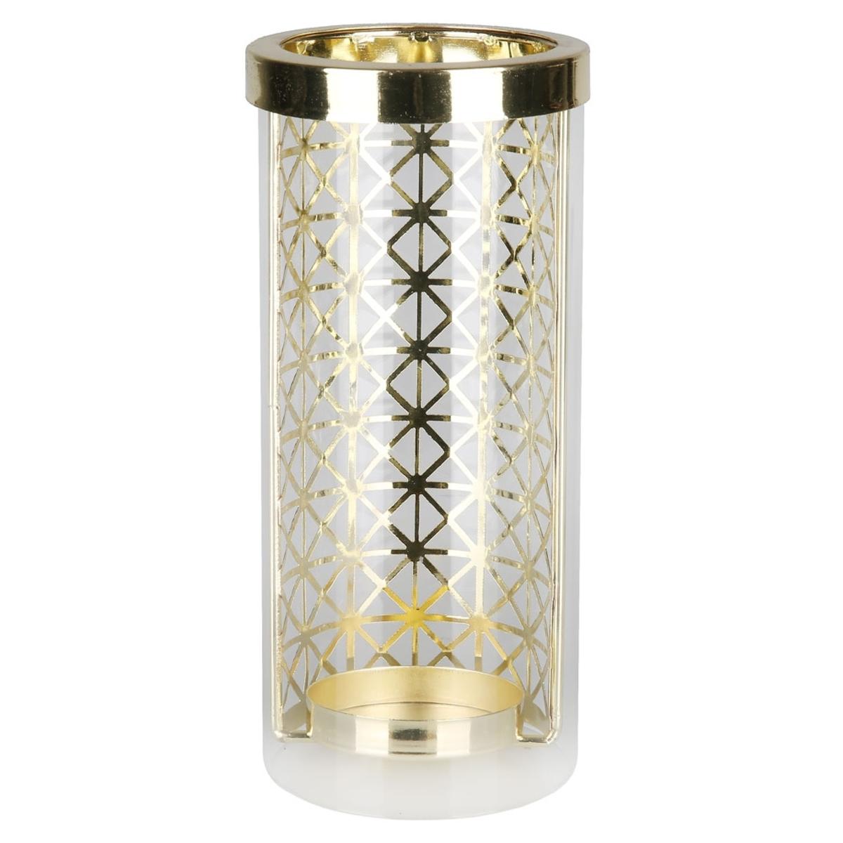 Bild 2 von Windlicht, Dreiecksmuster, Glas, 9 x 21 x 9 cm, gold