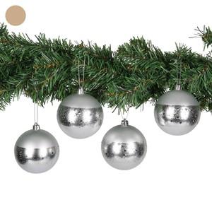 Weihnachtskugeln, Sternenband, silber, 4 Stück