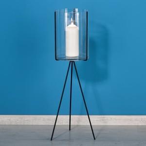 Design-Laterne auf Stand, Metall, 26 x 74,5 x 23 cm, schwarz