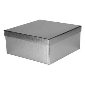 Geschenkbox, Stülpdeckel, metallic, silber, klein