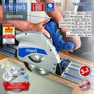 Scheppach 160 mm Tauchsägen-Set PL55 inkl. 2. Sägeblatt
