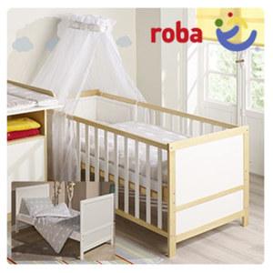 Kombi-Kinder-Holzbett inkl. Matratze, 3-teiliger Bettwäsche, Himmel und Himmelstange, zum Juniorbett umbaubar, Maße: ca. 70 x 140 cm