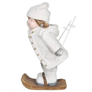 Deko Figur, Mädchen auf Skiern, 30 x 51,5 x 27 cm