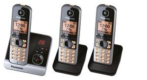 Panasonic schnurloses Dect-Telefon mit 2 Zusatzset KX-TG 6723 GB schwarz