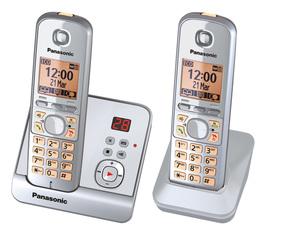 Panasonic schnurloses Dect-Telefon mit Zusatzset KX-TG 6722 GS silber