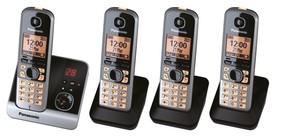 Panasonic schnurloses Dect-Telefon mit 3 Zusatzset KX-TG 6724 GB schwarz
